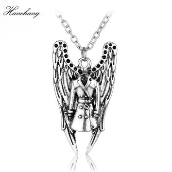 Movie Accessories Supernatural Necklace Castiel Wings Angel Wicca Pendant Necklace Party Daily Cosplay Jewelry Christmas Gift