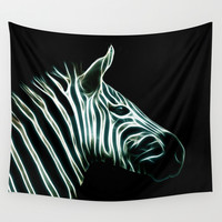 Black and white fractal Zebra stripes Wall Tapestry by Laureenr