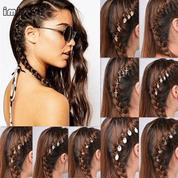 Imixlot Fashion Alloy Hairpins For Women Gold and silver Round Star Shell Dreadlock Updo Hair Pin Cuff Hair Ring Accessories