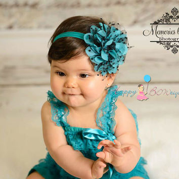 Large Peacock Teal Dots Tutu Flower Headband