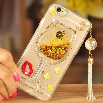 Glitter Dynamic Sand Liquid Wine Cup Case For Samsung Galaxy Note 8 S8 S9 Plus Tassels Fashion Phone Case Cover For Galaxy S7 S6
