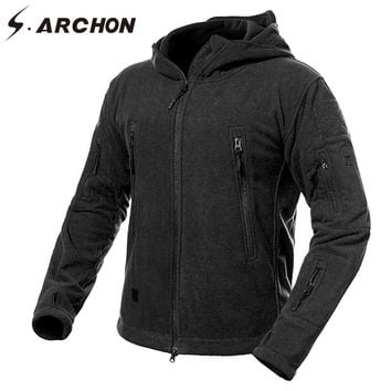 S.ARCHON Winter Thicken Soft Shell Military Fleece Jackets Men Hooded Windproof Tactical Outerwear Coat Warm Army Jacket Clothes