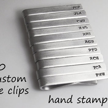Tie Bar Set of 10 Aluminum Personalized Hand Stamped Initial Tie Clip Groomsman gift Father's Day Choose Phrase Bulk