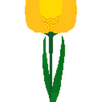 Bright yellow single tulip. Modern cross stitch pattern. Delicate, contemporary cross stitch design.