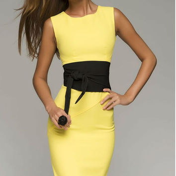 Yellow Pencil Dress Woman , Elegant Casual Midi Dress With Belt.