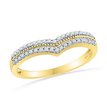 10kt Yellow Gold Womens Round Diamond Chevron Band Ring 1/4 Cttw