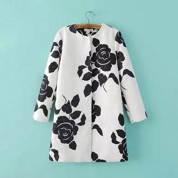White And Black Floral Print Sleeve Button Coat