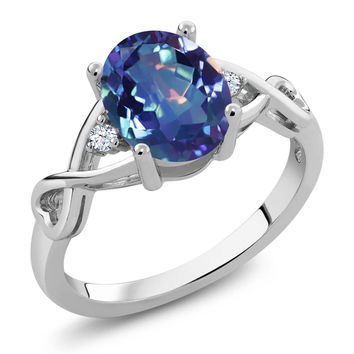 1.89 Ct Oval Millennium Blue Mystic Quartz 925 Sterling Silver Ring