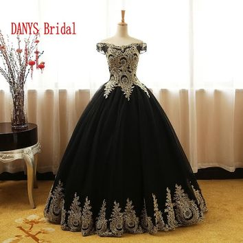 Black Puffy Quinceanera Dresses 2017 Online Princess Ball Gown for Prom Sweet Sixteen 16 Dresses vestidos de 15 anos