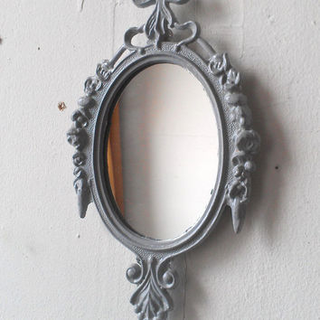 Small Wall Frame or Mirror in Vintage Dove Grey Frame - Upcycled Vintage