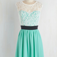 Mid-length Cap Sleeves A-line Shortcake Story Dress in Turquoise