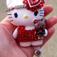 I Love Hello Casting Kitty Id Badge Holder Reel with Pendant