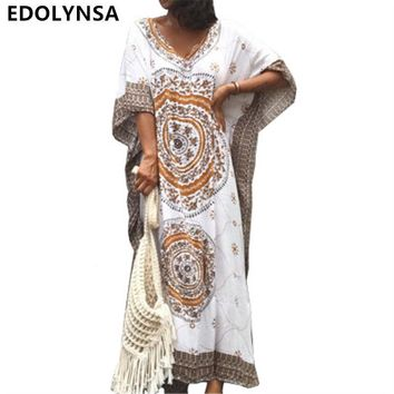 Women Summer Beach Dress Cotton Ethnic Print Kaftan Maxi Dress 2018 Summer Loose Vintage Boho Beach Long Dress Vestidos #N393