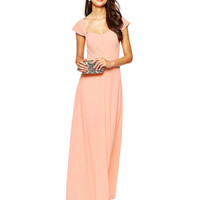 Pink Ruched Cap Sleeve High Waist Evening Dress