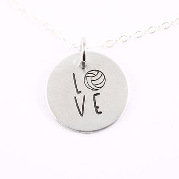 Volleyball Love Necklace - Sterling Silver