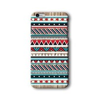 Iphone 6/6s Plus Case, Red and Blue Aztec Geometric on Wood Pattern 3d-sublimated, Mobile Accessories.