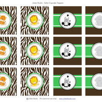 Safari Cupcake Toppers: INSTANT DOWNLOAD