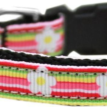 Striped Daisy Nylon Ribbon Dog Collar Sm Small