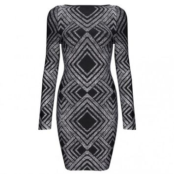 Posh Girl Black & Silver Foil Print Dress