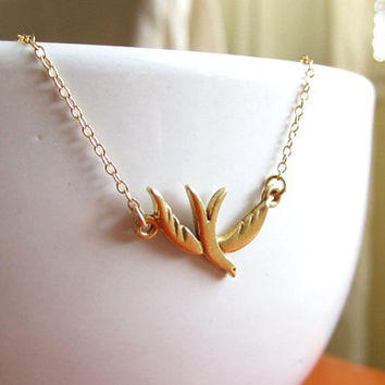 Gold Vermeil Baby Dove Necklace - cute dainty everyday wear by Yameyu