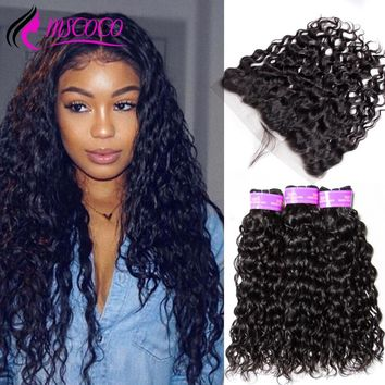 Mscoco Hair Water Wave Bundles With Frontal Brazilian Hair Weave 3 Bundles With Closure Human Hair Lace Frontal With Bundles