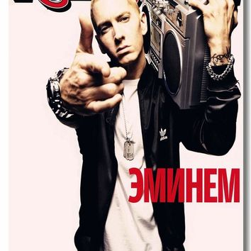 Custom Canvas Wall Decor Eminem Poster Eminem Mural Sticker Rap Hip Hop Wallpaper Rapper Office Decal Cafe Bar Decoration #0073#