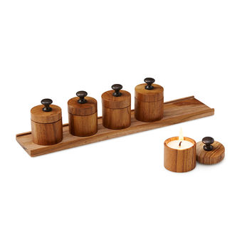 Mini Teak Candles & Tray | Wood Tea Light Set