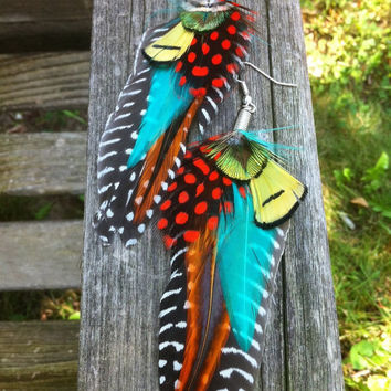 Feather Earrings - Guinea Fantacy - Bright and Colorful Dangle Earrings
