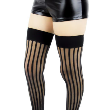 Freakshow Black & Sheer Vertical Stripe Thigh Highs