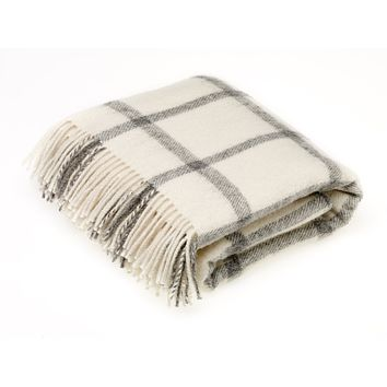 Natural Collection Pure New Wool Throw Blanket Windowpane Cream