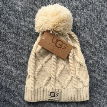 Autumn Winter UGG Soft Cotton knitted Beanies Hat- Beige