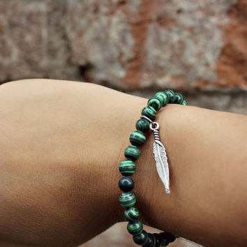 Green Stone and Feather Stretch Bracelet
