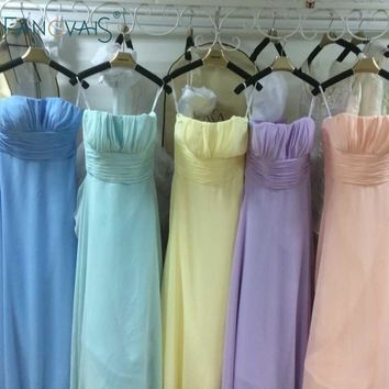 Convertible Multi Color Chiffon Bridesmaid Dresses Long Maid of Honor Dress Pink Dress Wedding Vestidos de Dama de Honra BMD94