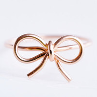 TINY BOW ring  14k Rose gold filled wire wrap by muyinmolly