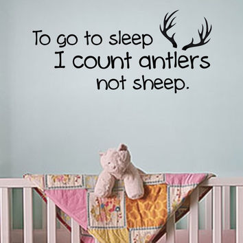 I Count Antlers Not Sheep Nursery Decal Country Deer Decal FREE US SHIPPING