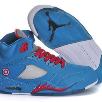 Fashion Online Hot Nike Air Jordan 5 Women Shoes Captain America