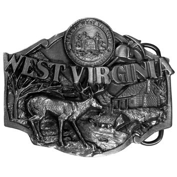 Sports Accessories - W. Virginia Antiqued Belt Buckle