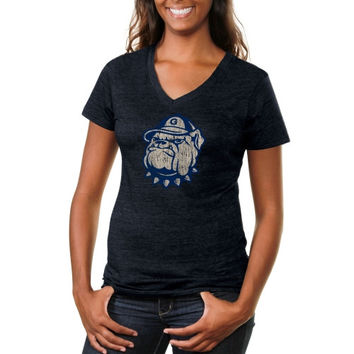 Georgetown Hoyas Ladies Distressed Secondary Tri-Blend V-Neck T-Shirt - Navy Blue