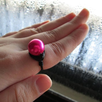 Fuchsia Pearl Ring, Wire Wrapped, Black Copper Wire Ring Base, Custom Sizing, Made to Order