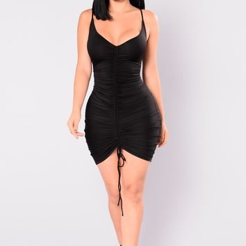 Shanghai Ruched Dress - Black