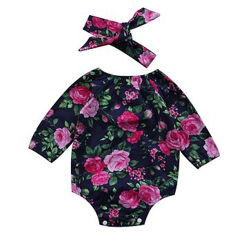 Baby Girl Floral Rompers Newborn Baby Girl Cotton Long Sleeve Romper Headband 2Pcs  New Jumpsuit Clothes