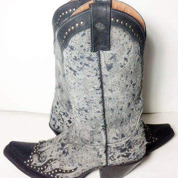 Harley-Davidson Jessa Black Leather Cowgirl Western Cowboy Boots Women's Size 8