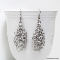 Chainmaille earrings, silver aluminum chandelier earrings, chain earrings, dangle earrings, statement earrings, chainmaille jewelry
