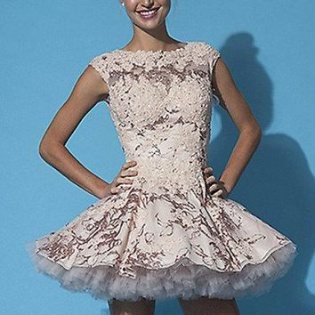 Jovani - Lace Embellished Cap Sleeves Tulle Flare Skirt 88259