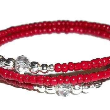 Blood Red Glass & Clear Swarovski Crystal Ends Silver Artisan Crafted Stackables Adjustable  Bracelet (S-M)