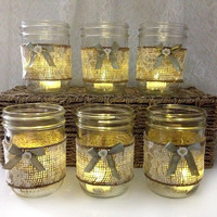 6 mason jar candle holder - lace and burlap covered Shabby Chic masoj jar candle holders wedding decor home decor unique gift