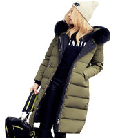 Parkas For Women Winter 2017 European Fashion Real Raccoon Fur Slim Long Down Coat White Wadded jacket With Hood Snow Outerwear