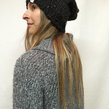 Knit Slouchy Hat Beanie Vegan Black Multicolor Cambridge Warm And Cozy