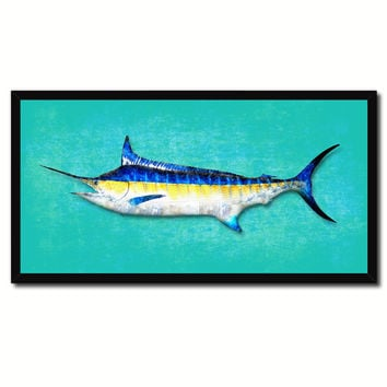 Swordfish Fish Aqua Canvas Print Picture Frame Gifts Home Decor Nautical Wall Art