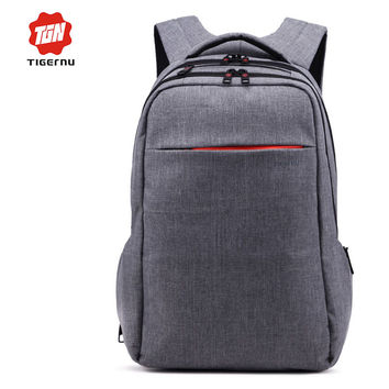 Tigernu Brand Grey Backpack Canvas Mochila Casual Bagpack Women Bags for Female Bolsas Femininas Bag Backpack 15.6 Laptop Bag